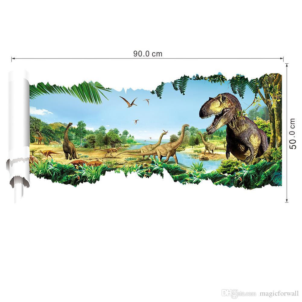 Large 3D View Jurassic Time Dinosaur Scroll Wall Decal Sticker Boys Kids Room Nursery Wall Decor Dinosaurs Wallpaper Sticker Posters