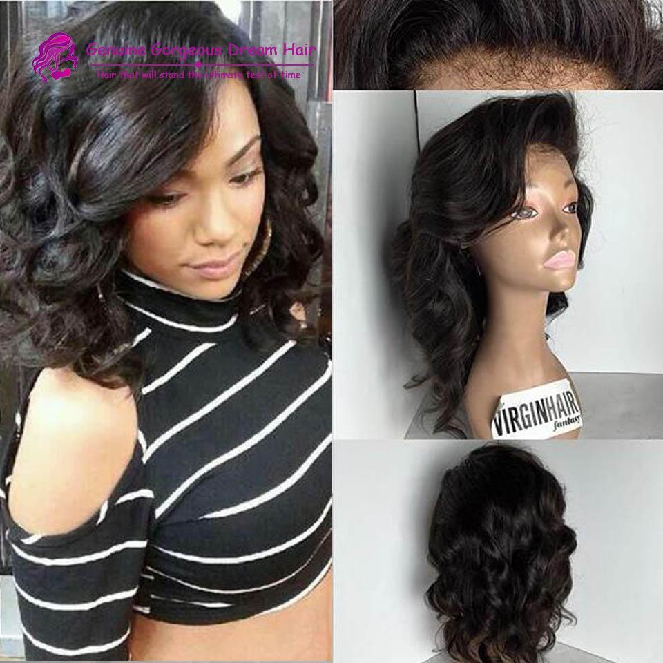 Short Human Brazilian Hair Wig Full Bangs