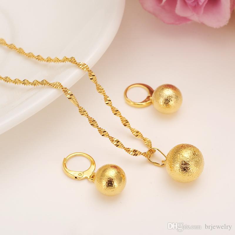 afrikanische romantische nette runde Kugel-hängende Halskettenkette Ohrringe stellt Schmucksache-Goldkorn-Halsketten-Sets forwomen Mädchen beste Geschenke ein