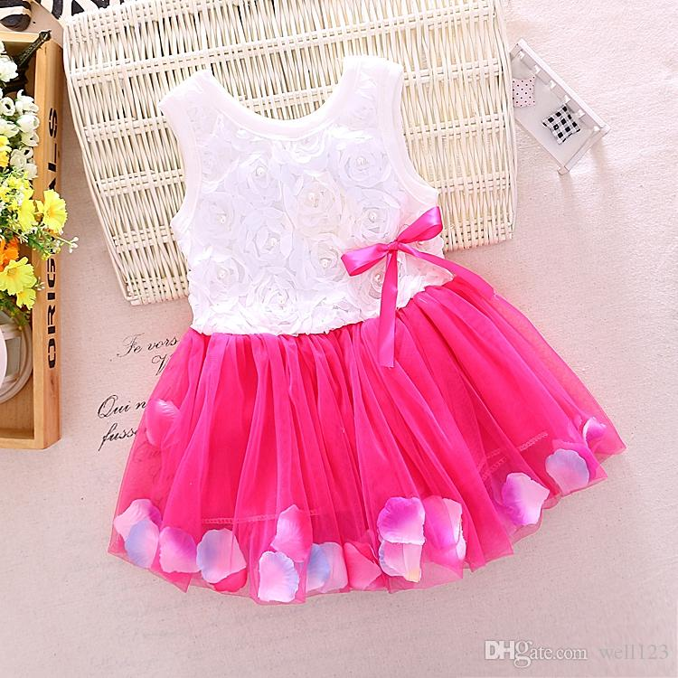 2018 Cotton Baby Girl Tutu 1st Birthday Party Dress Kid Holiday