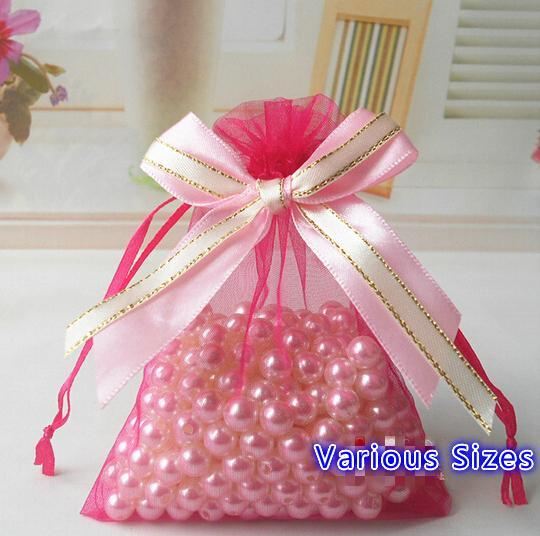 Liberi la nave 100pcs vari formati sacchetti di organza nastro bowknot affari sacchetto di imballaggio promozionale bustina caramelle perline sacchetti regalo di natale