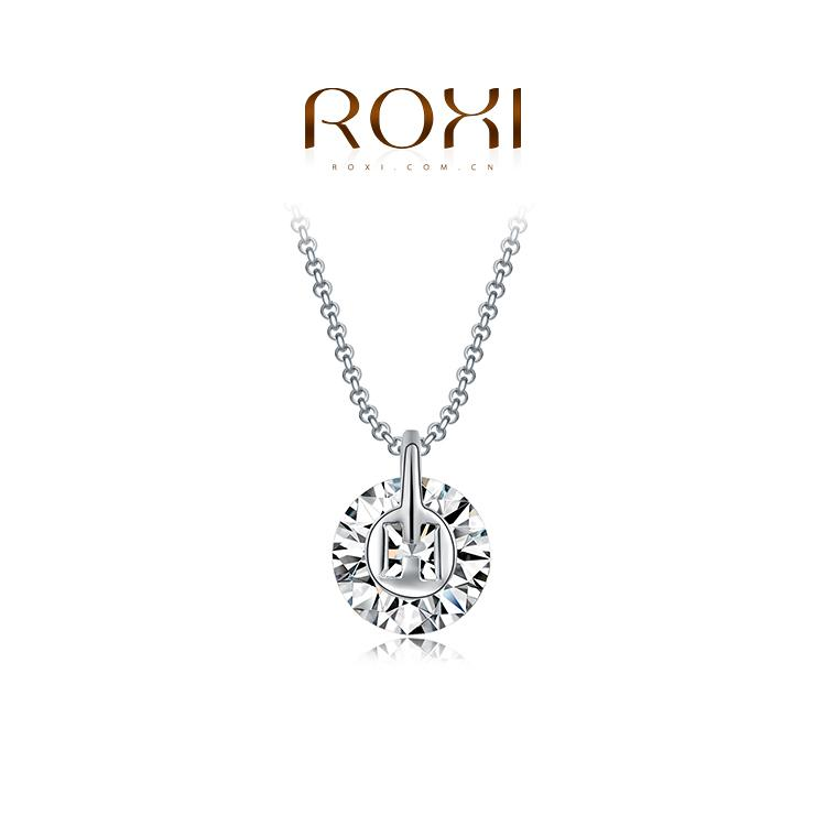 015 ROXI Christmas Gift New Fashion Jewelry Platinum Plated Statement Luxury Round Stone Necklace Women Party Wedding Free Shipping