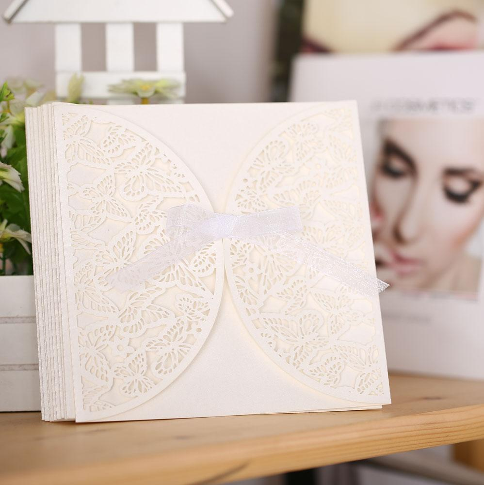 10PCS Romantic Iridescent Paper Wedding Invitation Card Butterfly Pattern Carved Hollow Out Crafts Cards Party Wedding Banquet