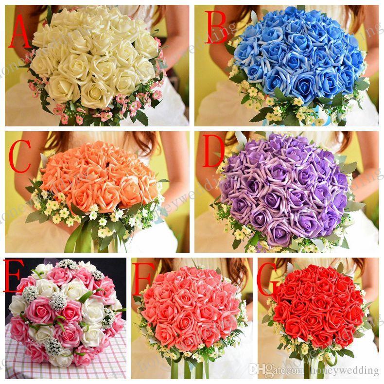 HOT! Beautiful Wedding Bouquet Perfect Wedding Favors Bride Hand Holding Flower Artificial Flowers Adornment Silk