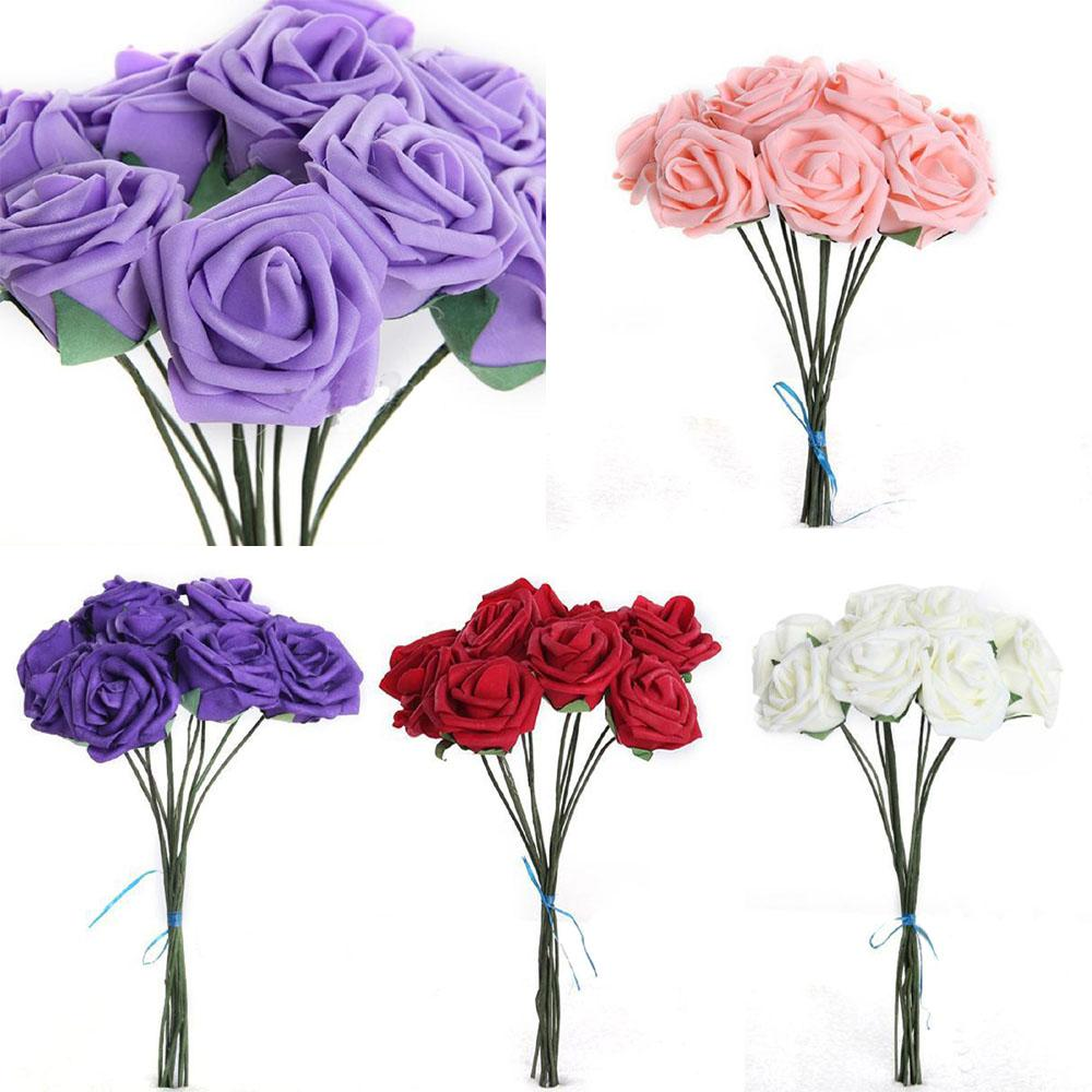 10pcs /lot 5.5cm Artificial Flowers For Wedding Decoration Colorful Scrapbooking Foam Rose Flower Bouquet For Home Party Decor