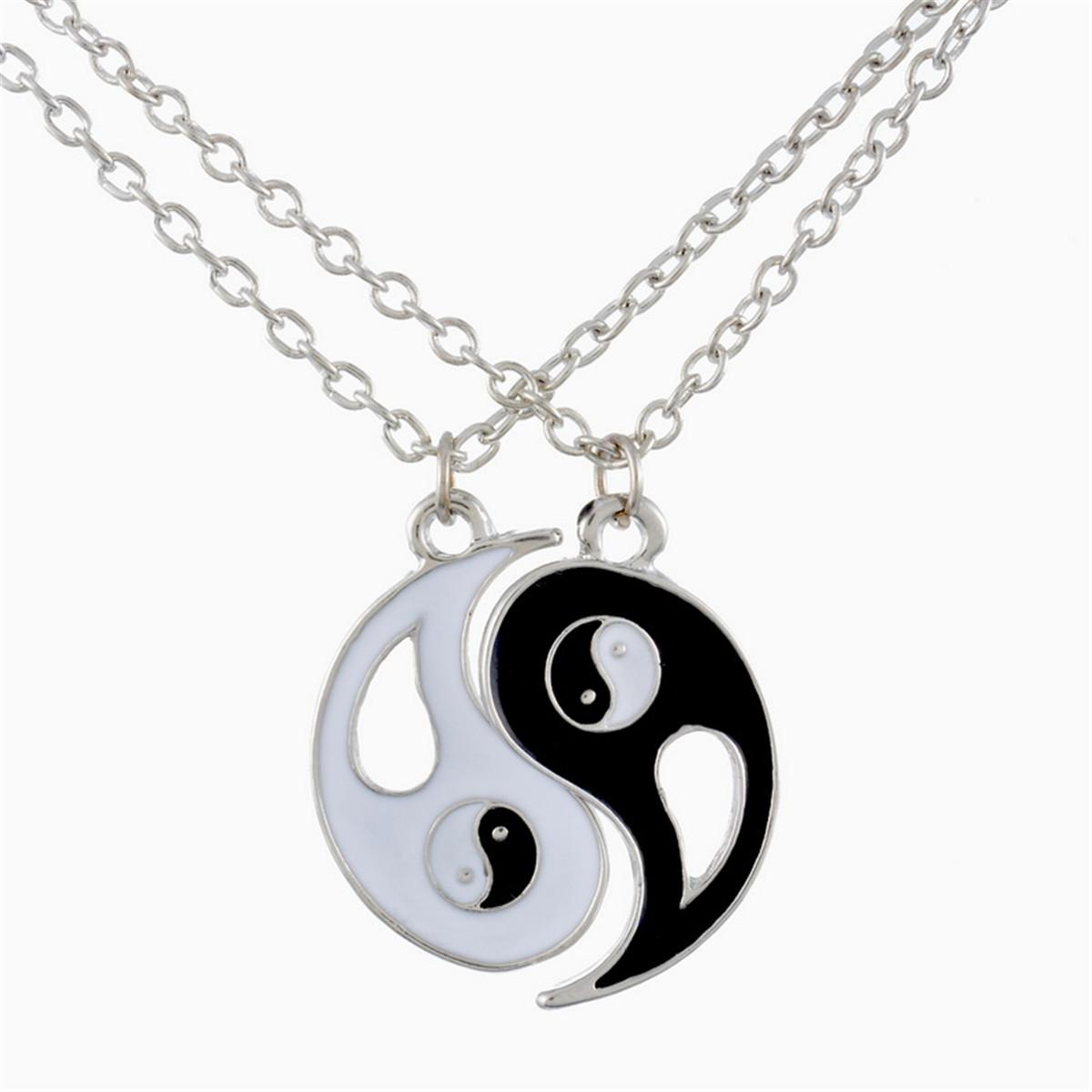 Lily Best Friends Ying Yang Two Bagua Charm Pendant Necklaces Retro Stylish with a Gift Bag