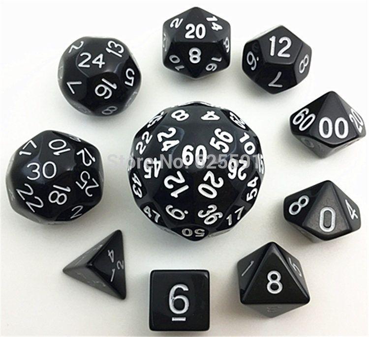 Jeu de dés numérique 10pc noir avec sac TG Haute qualité d4, d6, d8,2xd10, d12, d20, d24, d30, d60, d60 dnd Jeux de RPG Gros dés