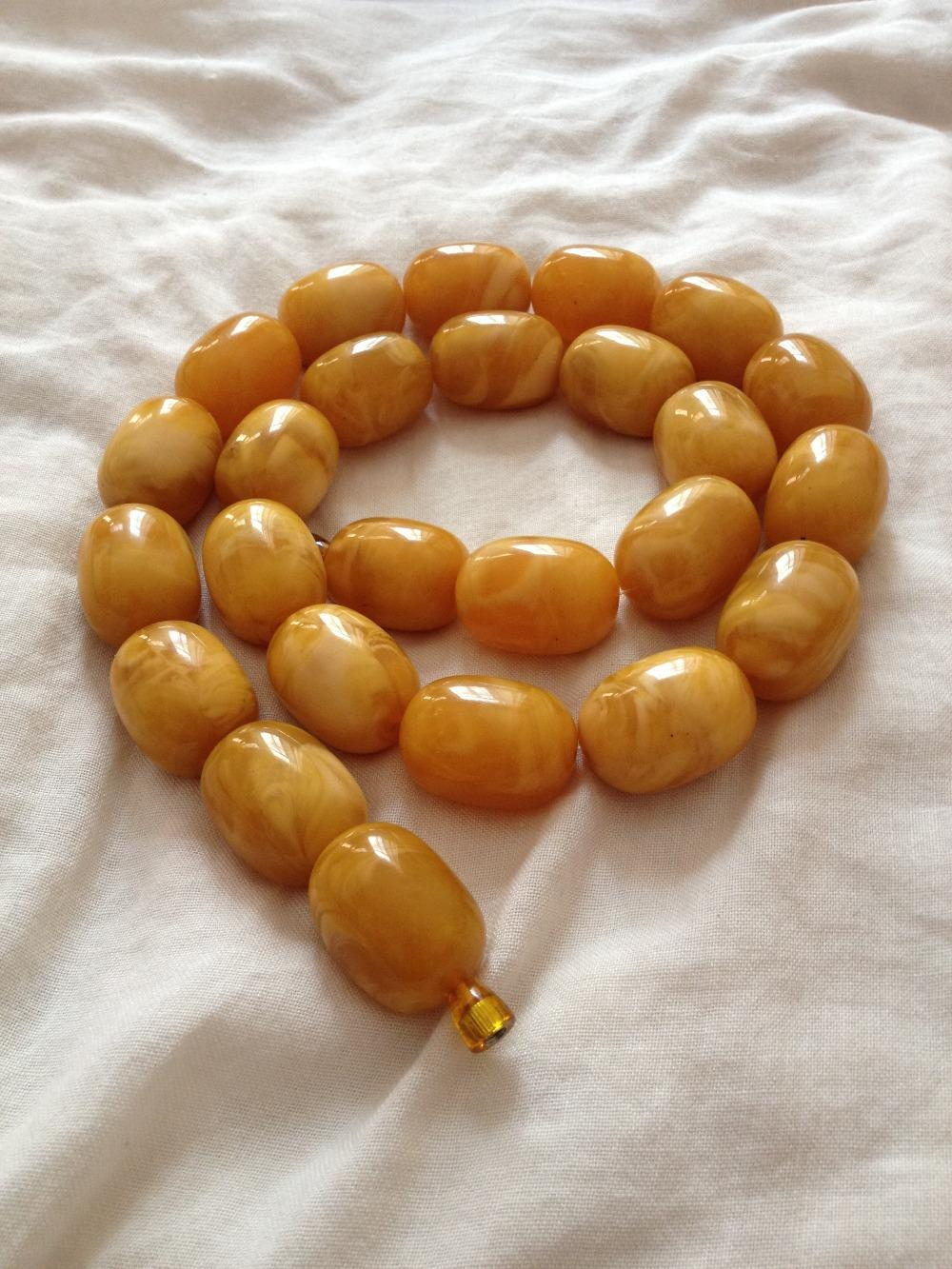 EGG YOLK BUTTERSCOTCH BALTIC AMBER NECKLACE IN VINTAGE STYLE