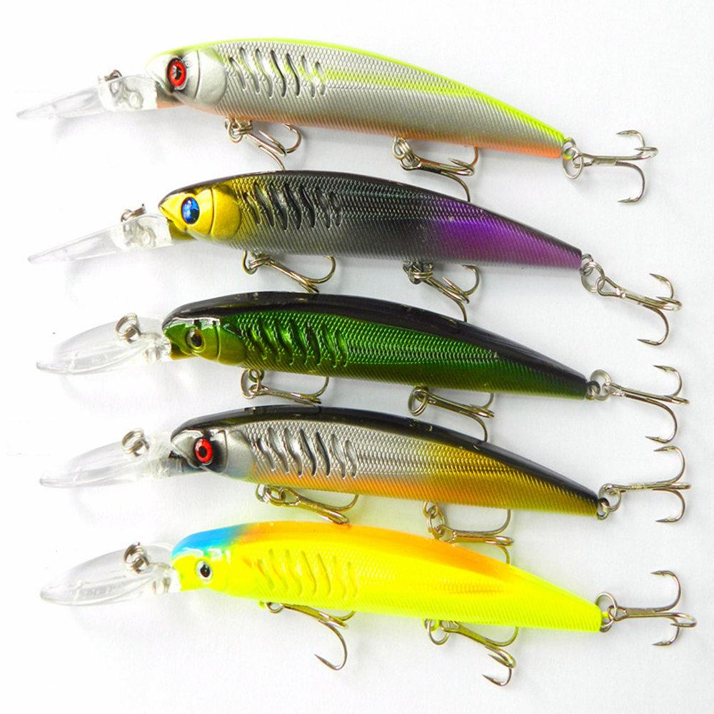 145mm/12.7g Minnow bass fishing bait 5colors Dving1.8-2.7M VIB sea Pike bait 3 hooks Power fishing Lure from china