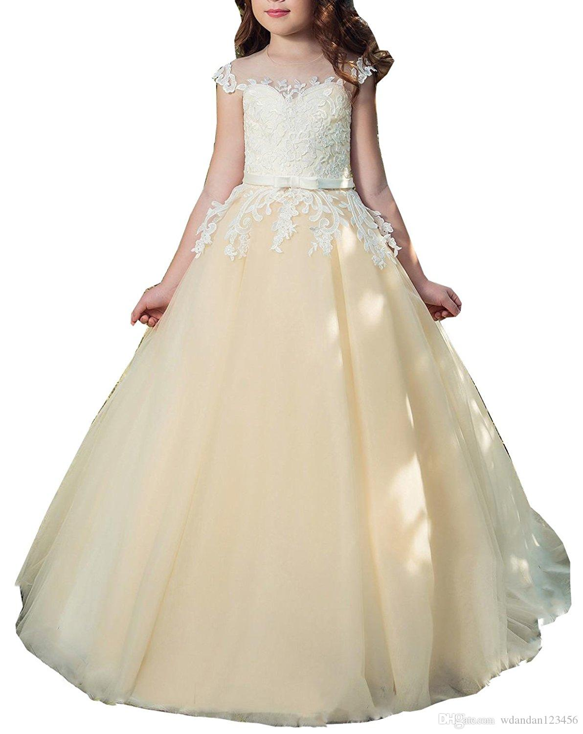 2017 Free Shipping New Flower Girl Dresses Kids First Communion Dress Ball Gown Lace Pageant Gowns 072
