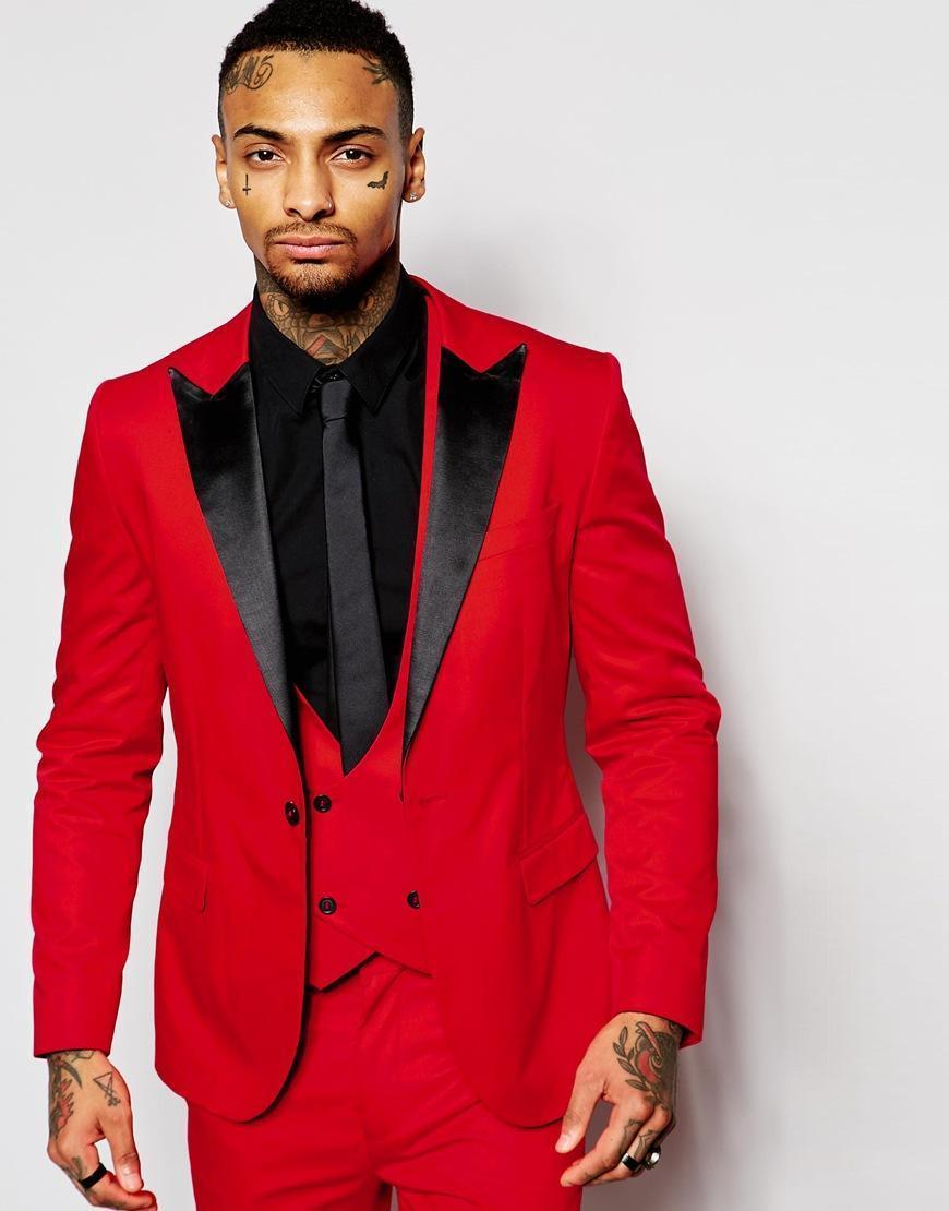 الأزياء الأحمر رجل الدعاوى الأسود ذروته التلبيب ثلاث قطع العريس البدلات الرسمية مخصص يتأهل رفقاء العريس الدعاوى الزفاف (سترة + سروال + سترة + التعادل)