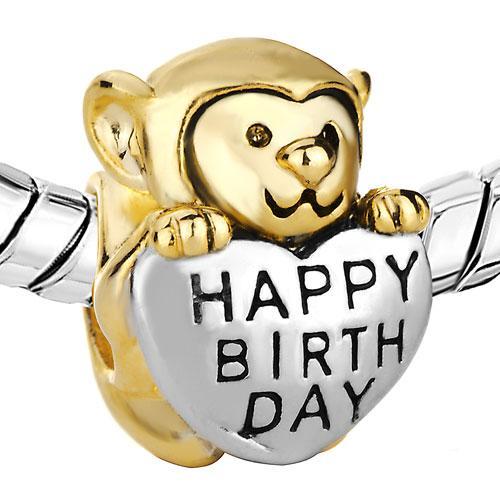 Happy Birthday Monkey Bead Material de aleación europea con rodio y chapado en oro Fit Pandora pulsera