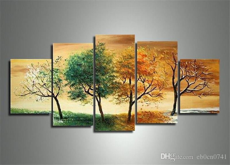 Handgemalte Kunst Frühling, Sommer, Herbst und Winter vier Jahreszeiten Landschaftskunst 5 Teile / Satz Moderne abstrakte Landschaftsmalerei auf der Leinwand