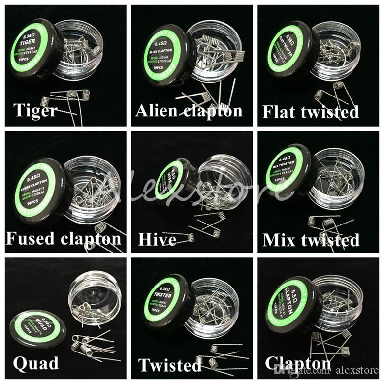 Flat twisted wire Fused clapton coils Hive premade wrap wires Alien Mix twisted Quad Tiger 9 Different Heating Resistance 10pcs/box for Ecig