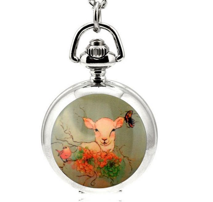 Старинные Моды анимация мультфильм мечта оленей шаблон эмаль белый стальной дети ожерелье карманные часы