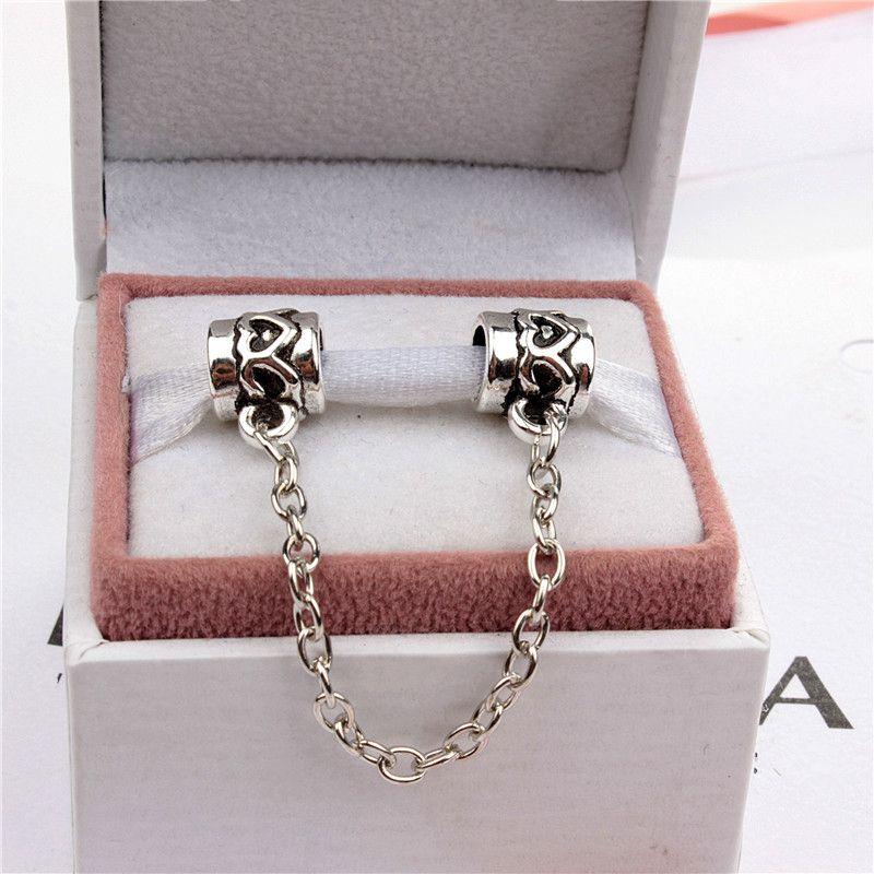 Herz-Sicherheits-Ketten-Art- und Weisefrauen-Schmucksachen 925 Silber überzogenes reizendes für Pandora-Armband-Charme-Korn-europäische Art 006