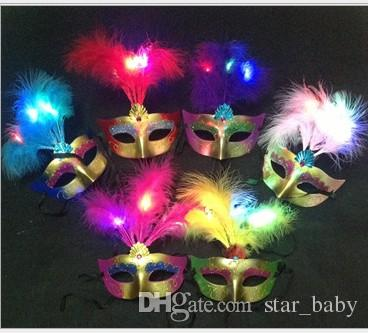 2015 Cute Lovely Mini LED Feather Mask Halloween Decoration Venetian Masquerade Party Flower Beads Princess Kid Gift Favors K5239