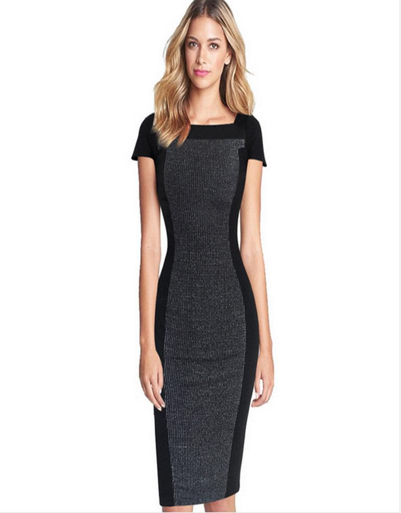 Lcw New Design summer Women's Elegant Optical Illusion Contrast Square Neck Cap Sleeve Wear to Work Office Fitted Stretch Bodycon Dress