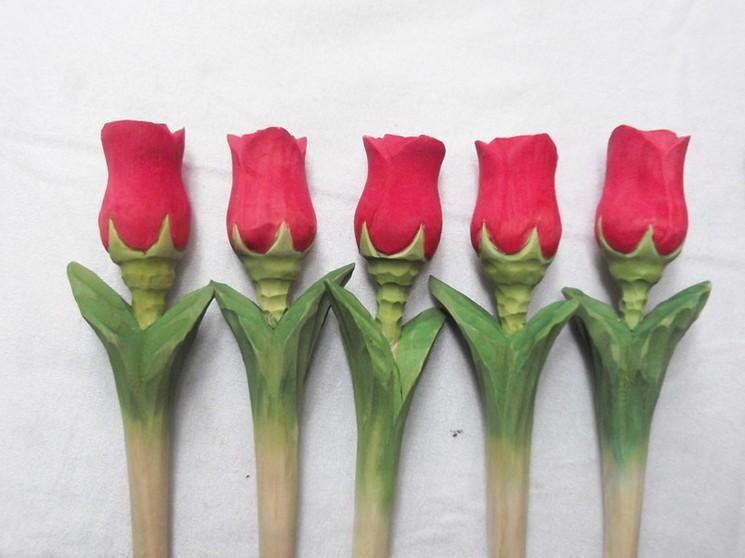 50 stks / partij schattige roos bloem snijwerk creatieve bal punt pen vorm carving hout pennen hout handgemaakte sculptuur student geschenken gratis verzending