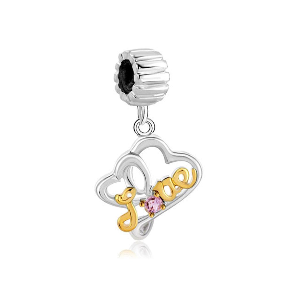 Родий и 22K золотое покрытие филигрань Кристалл мотаться сердце любовь Шарм бисера fit Pandora Chamilia Biagi браслет