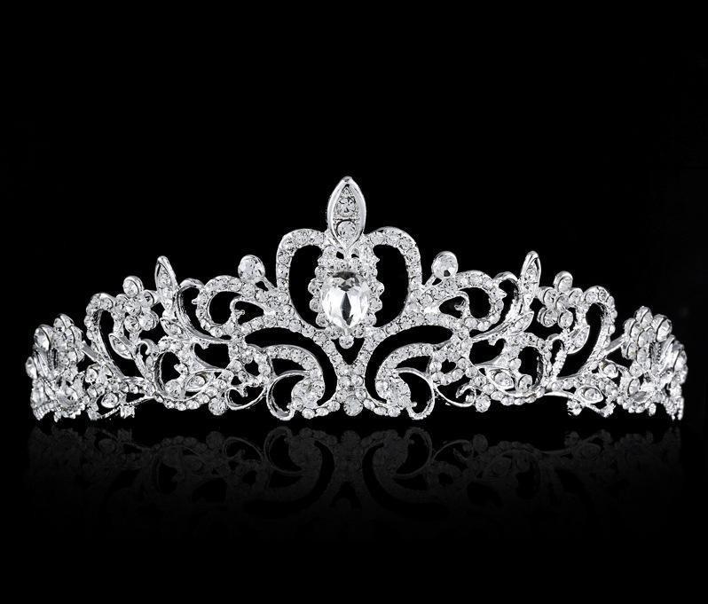 Высокое Качество Блестящие Бисером Кристаллы Свадебные Короны Свадебная Фата Тиара Корона Оголовье Аксессуары Для Волос Партии Свадебные Тиара