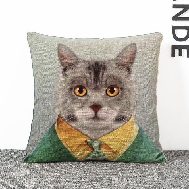 Natural Material Linen Cushion Cover Sofa Pillow Case Square Shape 45cm Edge Changeable Removeable Washable Digital Printing Metalic Zipper