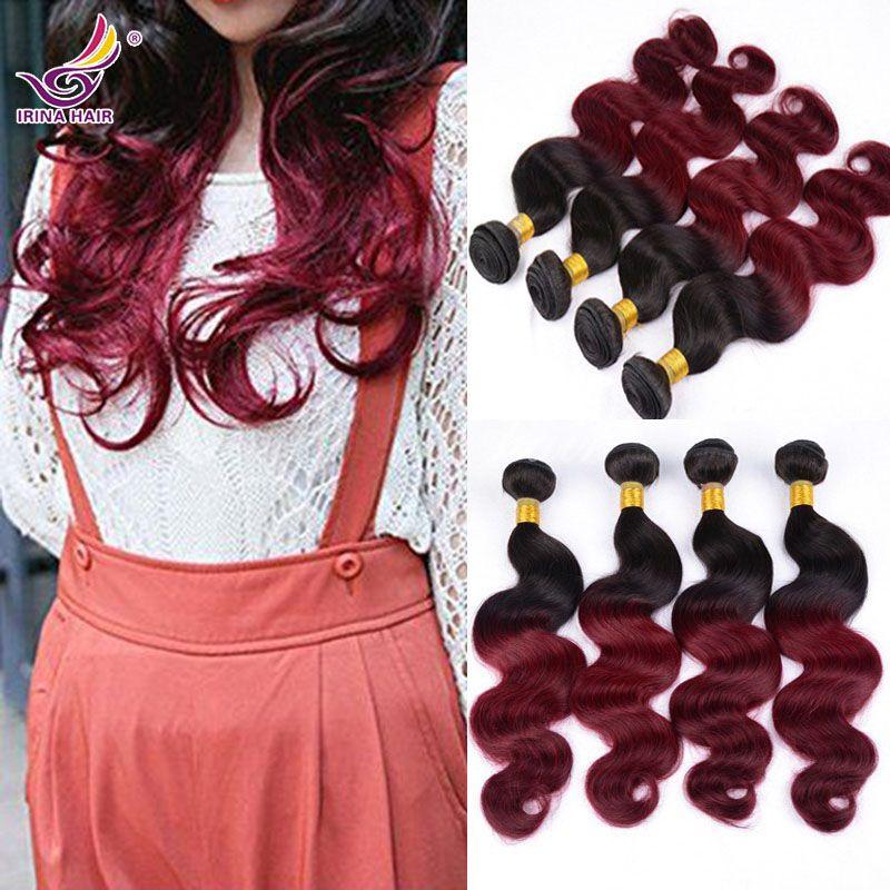 "Ombre Virgin Hair Burgundy Brazilian Virgin Hair Extension 4 Bundles Mixed Lengths 12""-26"" Raw Peruvian Virgin Hair Body Wave Hair Weaving"