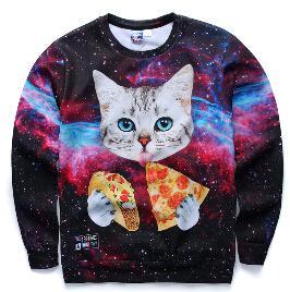 W1216 2015 nova moda Jumper mulheres / homens 3d camisola impressa gato / pizza / tigre camisolas hoodies harajuku galaxy roupas plus size