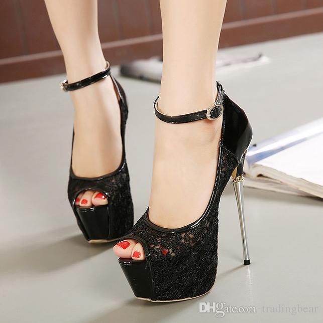 16 cm Seksi platform ayakkabılar süper yüksek topuk siyah beyaz dantel düğün ayakkabı bayanlar parti gece kulübü ayakkabı 2 renkler boyutu 35 40