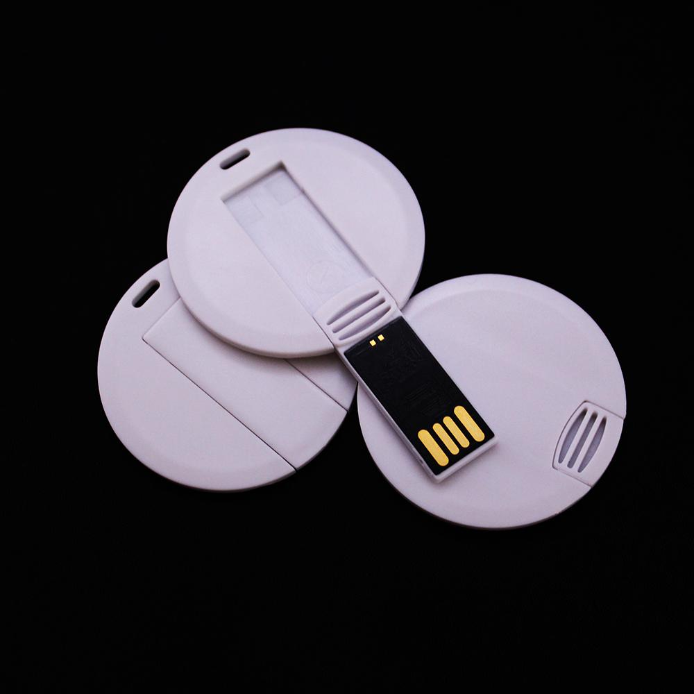Pack 100PCS 128MB/256MB/512MB/1GB/2GB/4GB/8GB/16GB Round Card USB Drive 2.0 Memory Flash Pendrive Sticks Blank White Suit for Logo Print