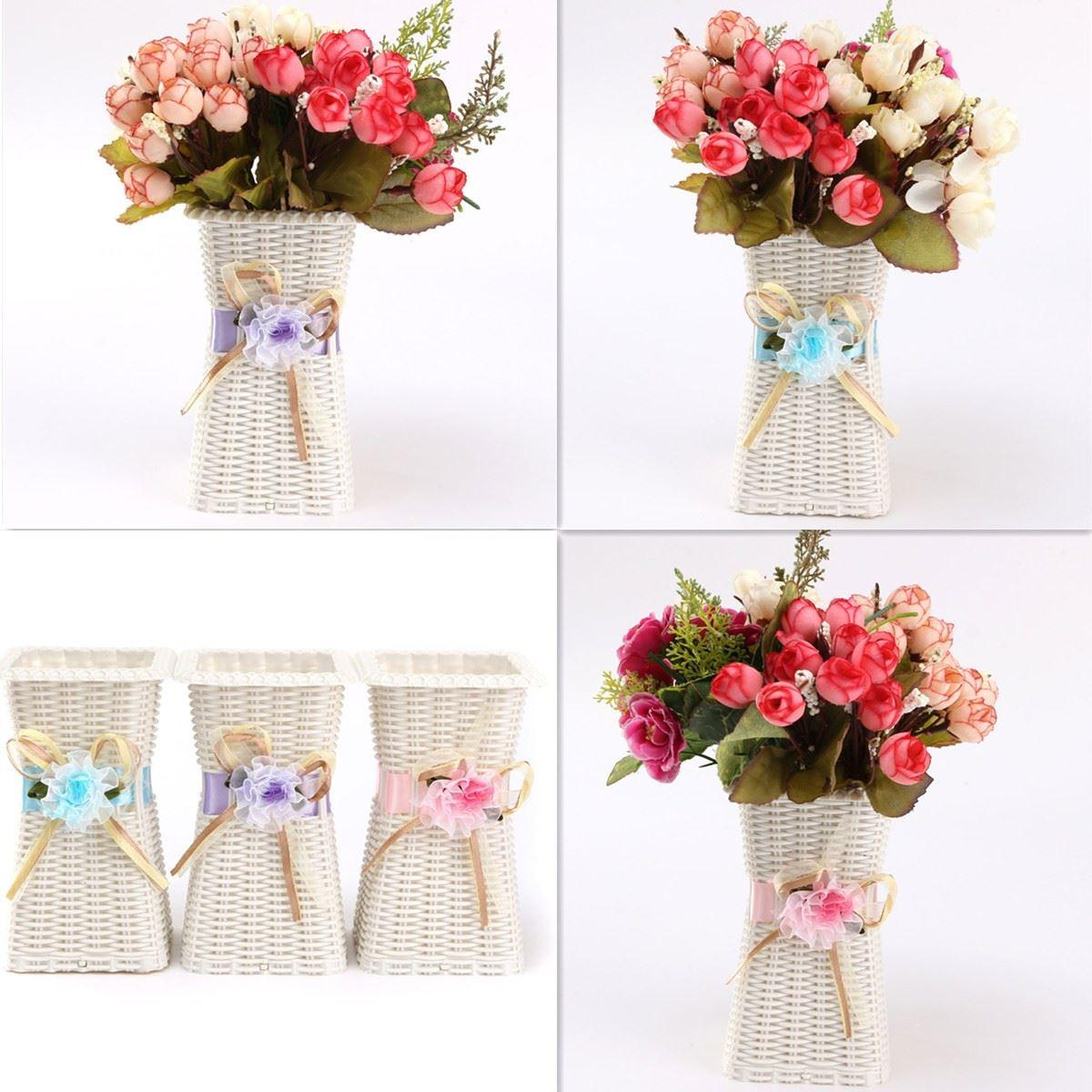 Plastic artificial rattan flower basket rosesfruitscandy storage plastic artificial rattan flower basket rosesfruitscandy storage vase garden wedding party decoration gift square 2018 from wgl2016 1894 dhgate reviewsmspy