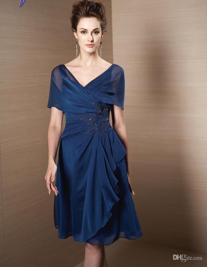 Dark Navy 2015 Mother Of Bride Groom Dresses V Neck And V Back Fashion Poet  Sleeve Pleated With Appliqued Knee Length Elegant Prom Gowns WWW Mother ...