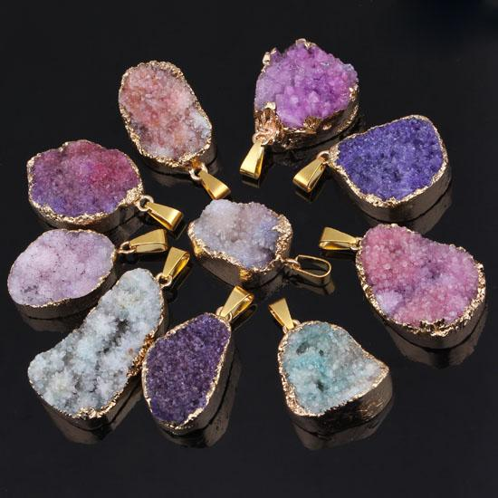 wholesale 10Pcs Silver/Gold Plated Natural Rock Crystal Quartz Drusy Gemstone Random Colorful Gemtone Connector Pendant Jewelry