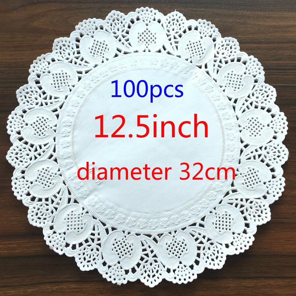 Großhandel-12,5 zoll / 320mm Vintage serviette Höhlte Spitze Papier matte Handwerk papier Deckchen Hochzeitsdekoration (100 teile / beutel)