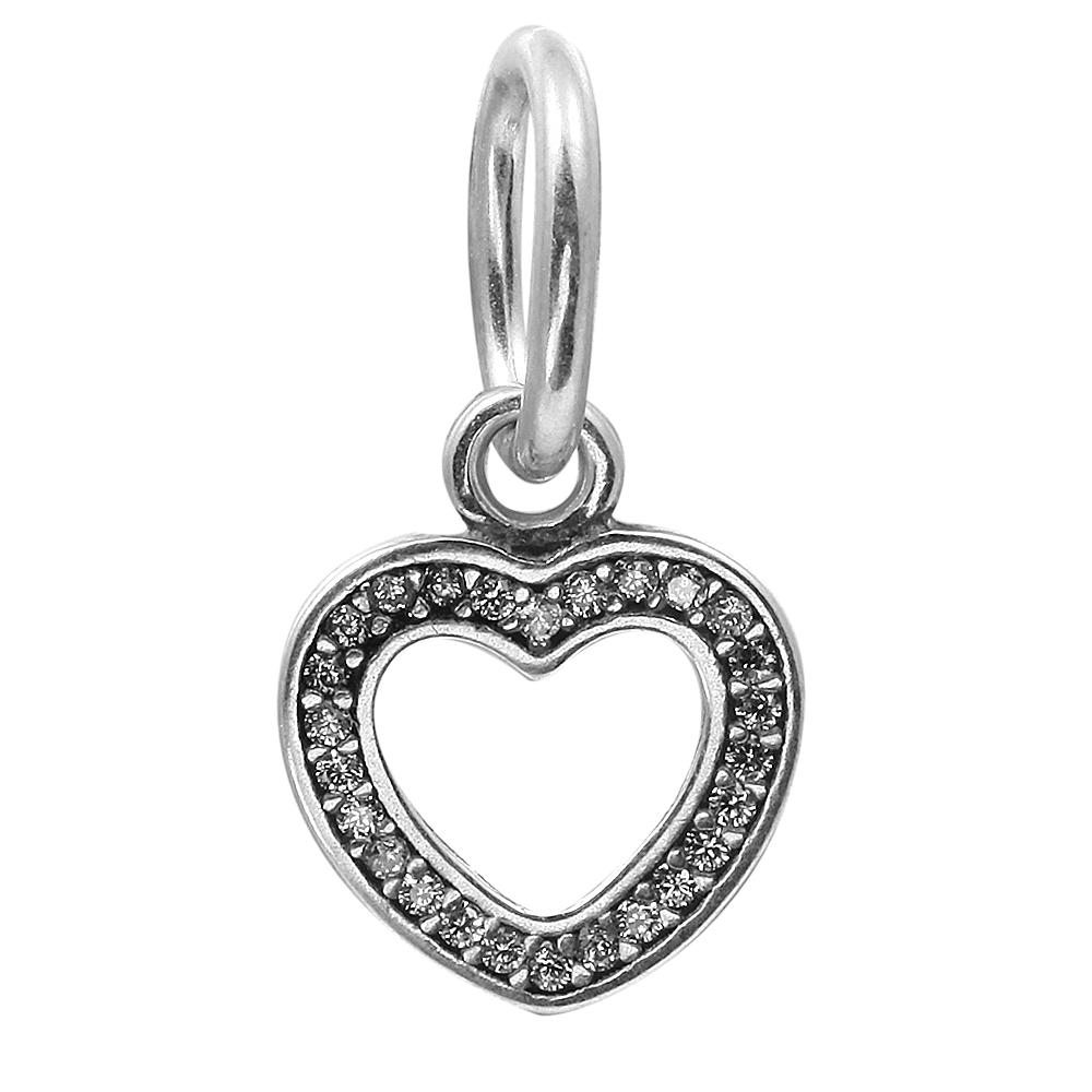 Dangle Heart Symbol of Love with Clear CZ 100% 925 Sterling Silver Beads Fit Pandora Charms Bracelet Authentic DIY Fashion Jewelry