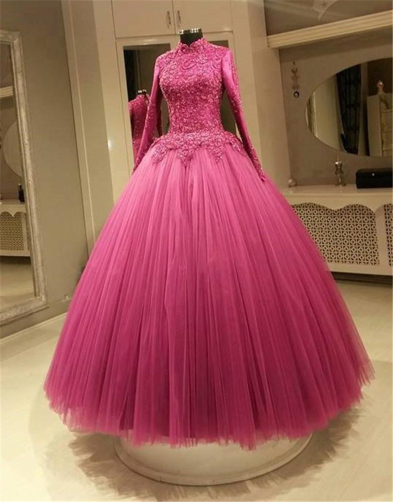 52491baba7 Muslim Abayas High Neck Long Sleeves Evening Dresses 2015 Ball Gown Vintage  Lace Tulle Skirt Islamic Arabic Indian Dresses Evening Wear Ball Gowns  Evening ...