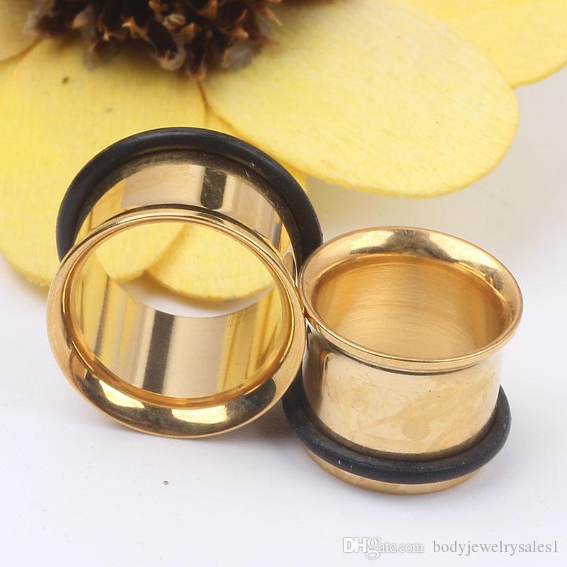 Blanda 3 ~ 14mm 100pcs / lot guldmönster öronproppar Tunnelkropp Piercing smycken kötttunnel