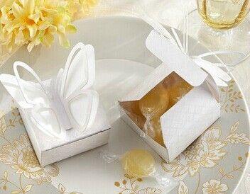 Embalaje plegable del favor del partido de la caja del caramelo de la boda de la cartulina de DIY - top 120pcs / lot LWB0352 de la mariposa envío libre