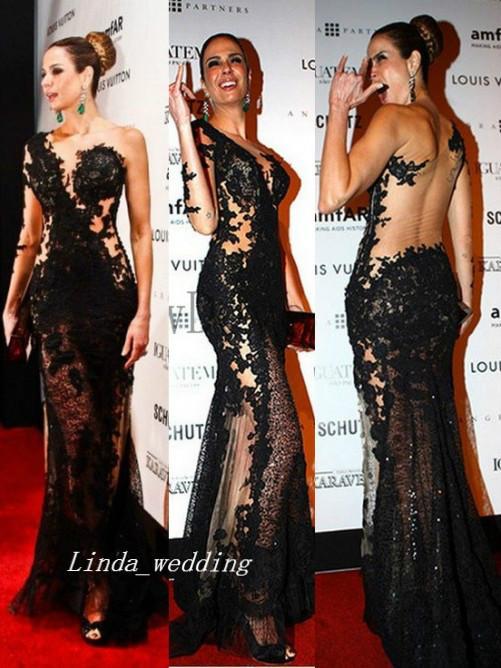 Free Shipping Black Colour Sheath Column One-shoulder Long Sleeves Sheer Applique Floor-length Evening Dress Celebrity Dress
