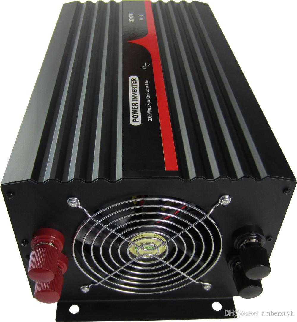 Высокое качество 24VDC до 220VAC 50Гц Евро Розетка 3000W Чистая синусоида Инвертор силы автомобиля
