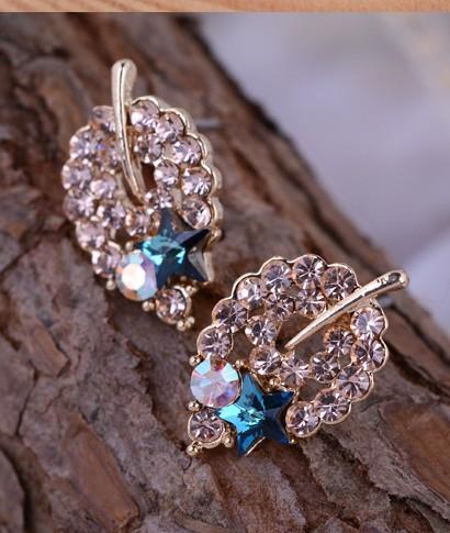 серьги женские * синий * белый бриллиант (1.7 * 1см) (xgspc)