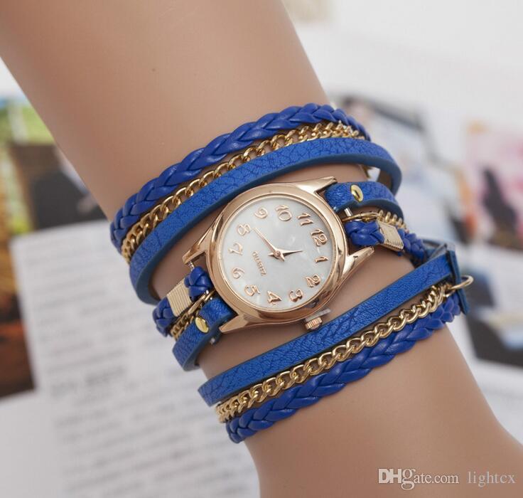 New Hot Women Long Slim Faux Leather Strap Round Analog Crystal Dial Handmade Weave Quartz Wrist Watch