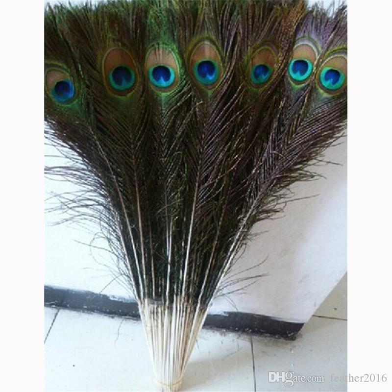 Venta al por mayor 100 unids / lote 27-32 pulgadas (70-80 cm) hermosas plumas de pavo real natural ojos para la ropa de bricolaje decoración de la boda