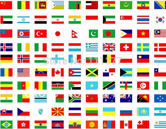 Tüm dünyaya tam set 200 ülke veya bölge polyester kumaş Direği ile ulusal bayrak, boyut 14 * 21 cm