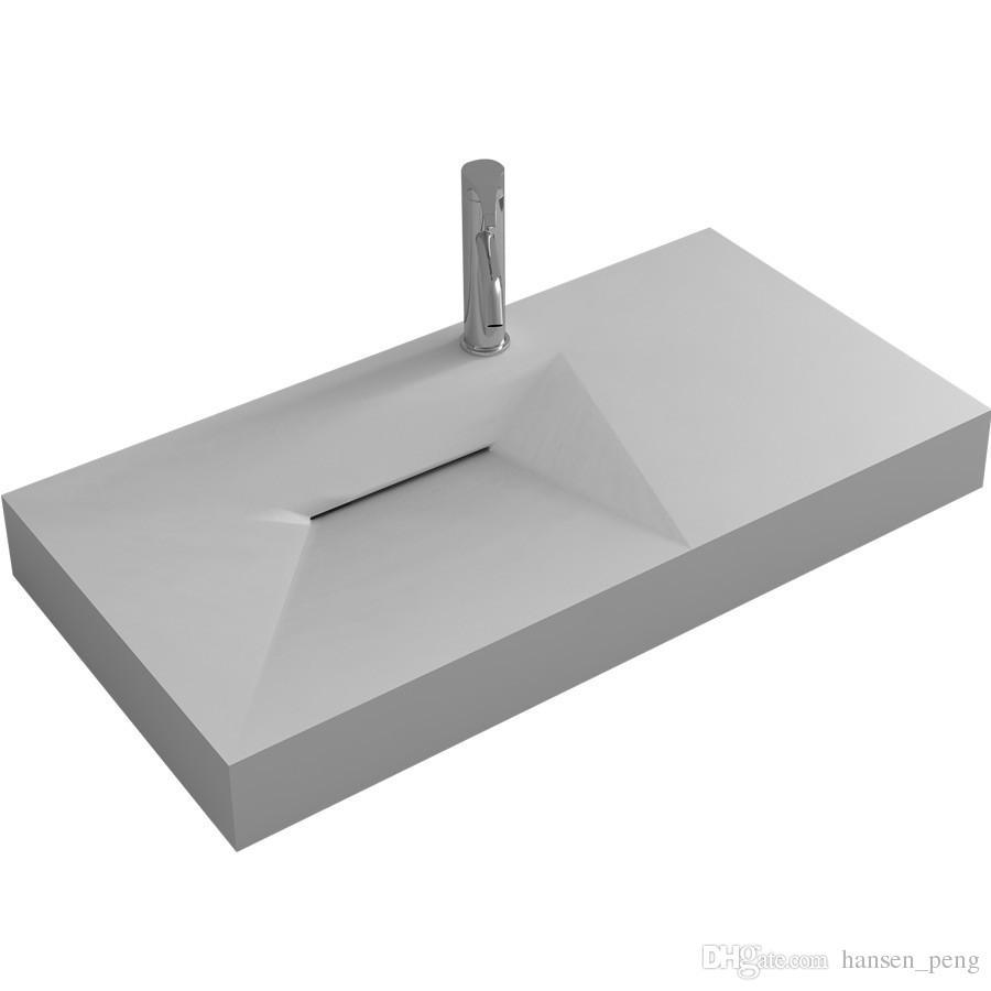 Nettoyer Evier Resine Noir acheter 900mm solide surface pierre Évier suspendu au mur résine acrylique  mat À la mode cape ou brillant mur lavabo rs38427 de 728,18 € du