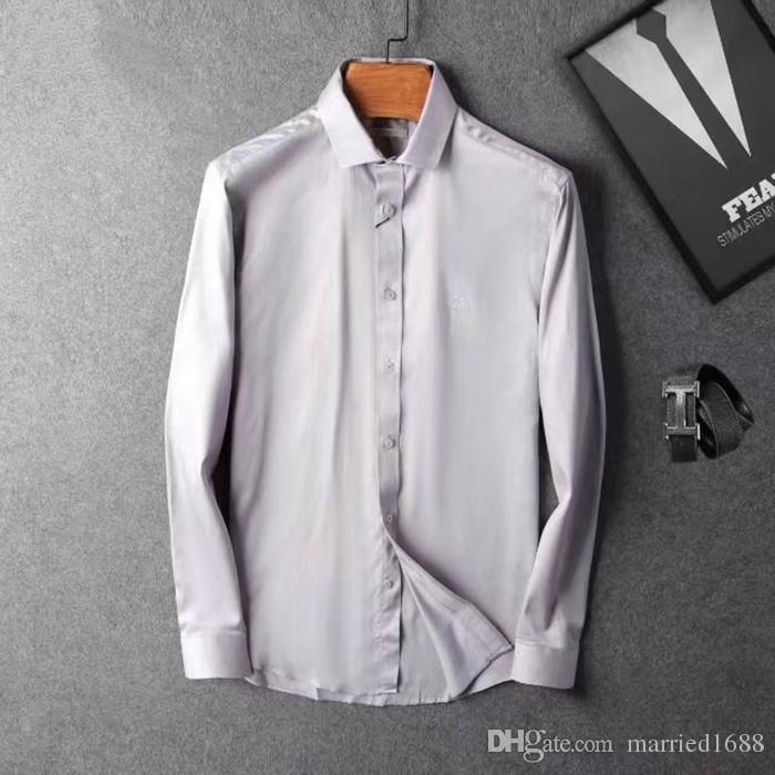 2019 2019 Luxury Designer Shirts Hot Sale Summer Men Camisa Social Splice Popular Herren Hemden Slim Fit Lapel Mens Dress Shirts From Married1688,