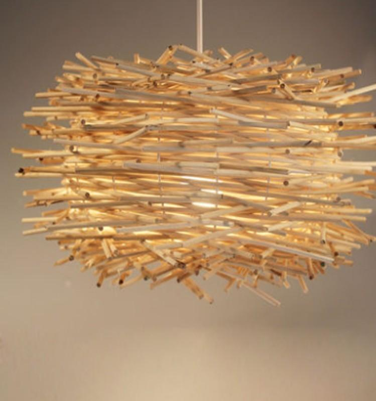 Modern hand made pure rattan wooden stick bird nest pendant lamp 1 mozeypictures Images