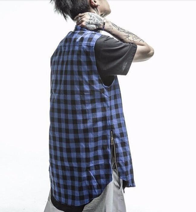 2016 plaid Hip Hop Men Shirt Chris Brown oversized Gold Side Zipper Extended Plaid shirt men casual Red Sleeveless tee shirt (15)