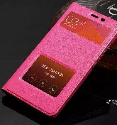 Coque Skin Pour Xiaomi Hongmi Note 3 Etui Coloré Flip Cover Window Luxe Véritable Etui En Cuir Pour Xiaomi Hongmi Redmi Redrice Note 3