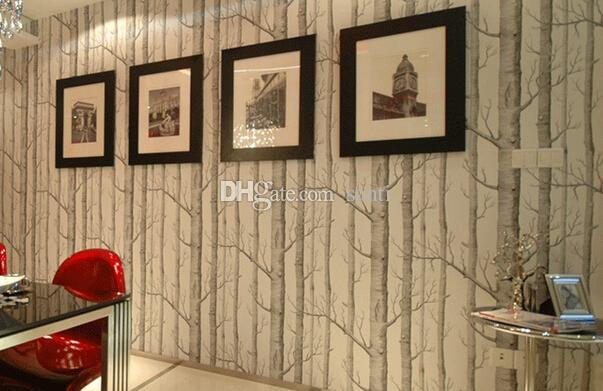 Yeni Huş ağacı Desen Dokunmamış Woods Duvar Kağıdı Rulo Modern Tasarımcı Wallcovering Oturma Odası için Basit Siyah Beyaz Duvar Kağıdı